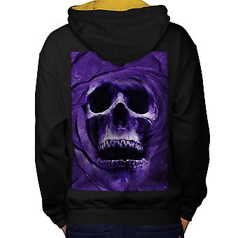 Ghost Metal Badass Skull Men Black (Gold Hood) Contrast Hoodie Back | Wellcoda