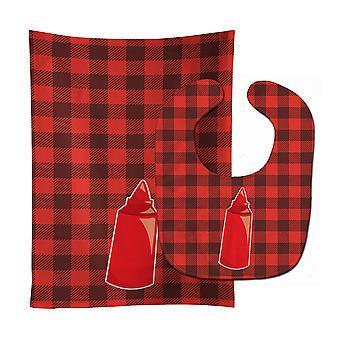Carolines schatten BB8638STBU achtertuin BBQ-Ketchup Baby Slabbetje & Burp doek