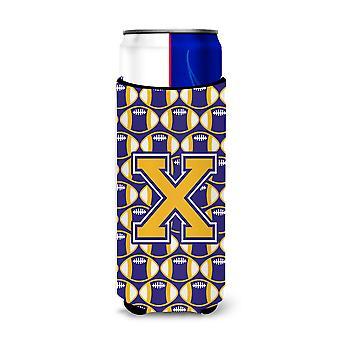 Letra X futebol roxo e ouro Ultra bebidas isoladores para latas magro