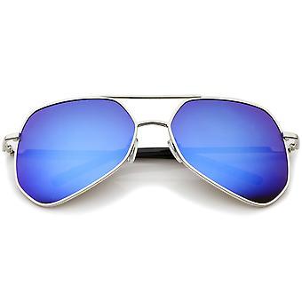 Moderne sekskantede geometriske Metal overligger spejl linse Aviator solbriller 60mm