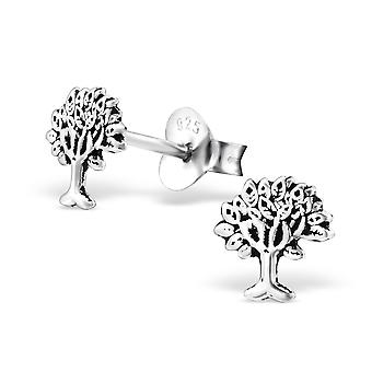 Tree - 925 Sterling Silver Plain Ear Studs