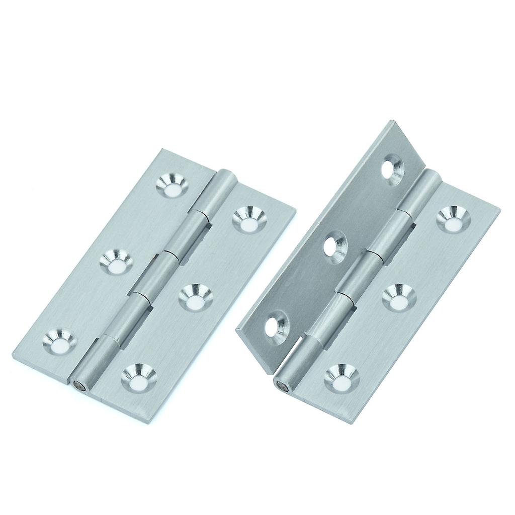 Premium Quality M4TEC ZC4 Satin Chrome Coloured Brass Interior Butt Door Hinge - Sturdy, Durable & Easy To Install – With Brass Pin – Ideal For General Joinery & Furniture – Fixings Included. 2pcs