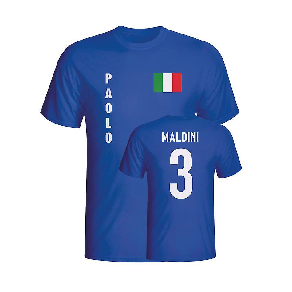 Paolo Maldini Italië vlag T-shirt (blauw)