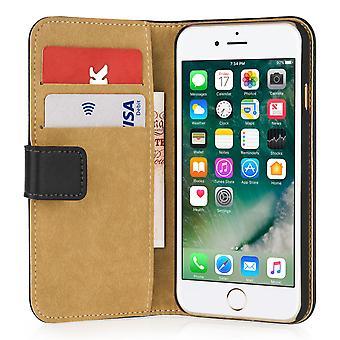 Caseflex iPhone 7 prawdziwe skórzane etui portfel - czarny