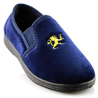 Infant Boys New Slip On Twin Gusset Lion Motif Velour Slippers Shoes