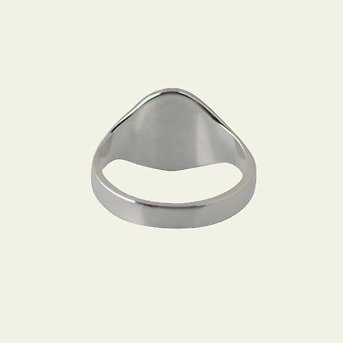 Silver 11x10mm solid hand engraved oval Signet Ring Size Q