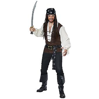 High Seas Adventurer Pirate Jack Sparrow Buccaneer Mens Costume Plus XXL