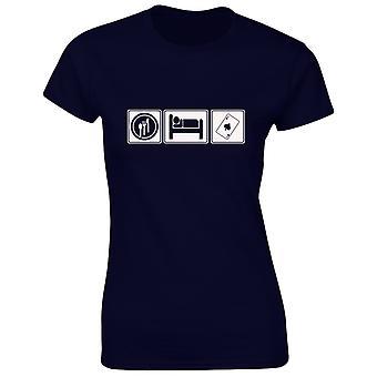 Comer dormir Poker tarjetas para mujer t-shirt para 8 colores (8-20) por swagwear