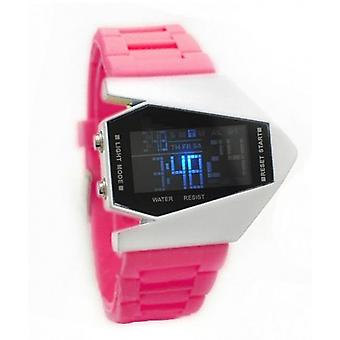 Ladies Large Digital Display Watch With Pink Rubber Strap BGLEDPINK1