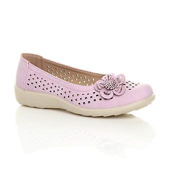 Ajvani Womens flache Grip Sohle gepolstert gepolsterte Komfort Schuhe Blumen Sommer ballerinas
