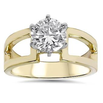 2ct Round Solitaire Engagement Ring 14K Yellow Gold