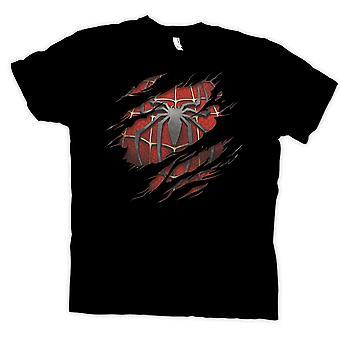 Damen T-Shirt - Spiderman unter Hemd Effect - Aktion Superhero