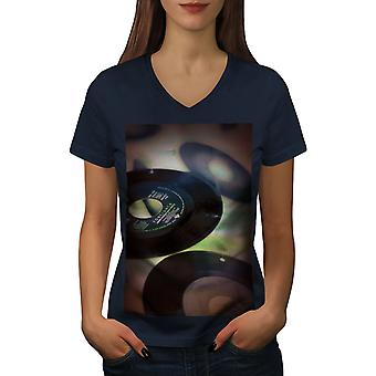 Old Retro CD Vynyl Women NavyV-Neck T-shirt | Wellcoda