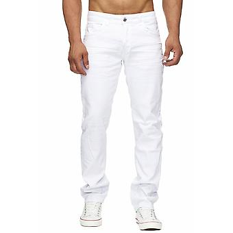 Men's Jeans White White Oversize Denim Regular Tapered Fit Stretch W34-W44