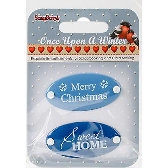 Scrapberry's Once Upon A Winter Metal Embellishments 2/Pkg-#1 Word Plates