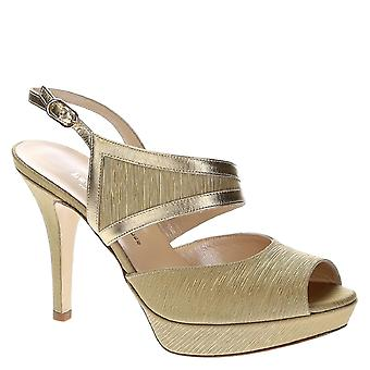 Sandales à plateforme en cuir platine et satin