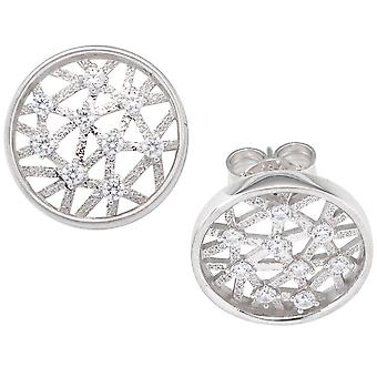 White Gold studs around 333 gold white gold 18 cubic zirconia earrings Gold ear studs