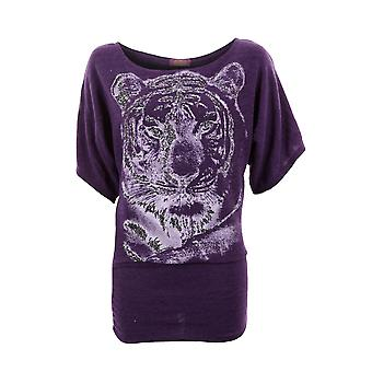 Ladies Tiger Print Glittered Batwing Knitted Half Sleeves Baggy Womens Top