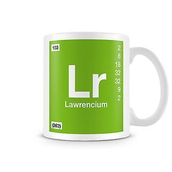 Mug imprimé scientifique, mettant en vedette élément symbole 103 Lr - Lawrencium
