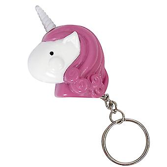 Unicorn key ring with light pink/white, 100% plastic.