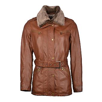 Tirril Belted Leather Coat in Tan