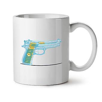 Transcluent Gun NEW White Tea Coffee Ceramic Mug 11 oz   Wellcoda