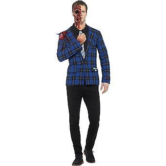 Breaking Bad Gustavo Fring drakt, blå, med jakke, Mock skjorte med slips, protese, blod & flytende lateks