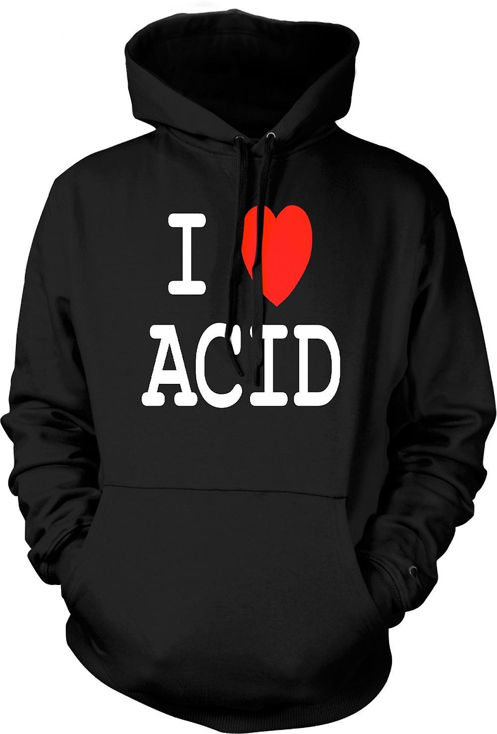 Felpa con cappuccio uomo - amo cuore acido - divertente