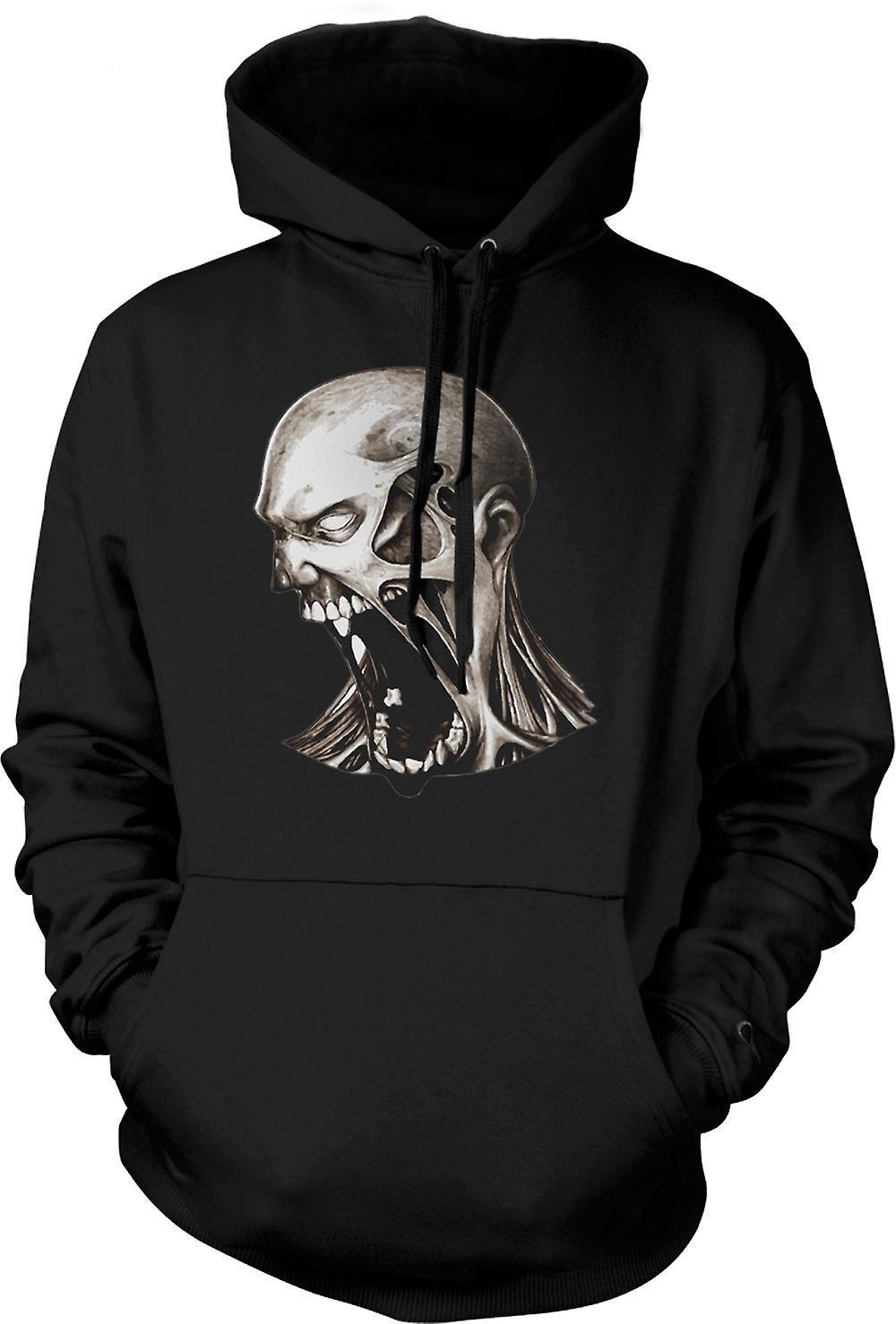 Mens Hoodie - Zombie Undead Mouth - Horror