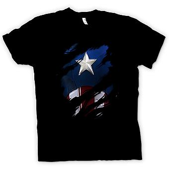Herre T Shirt Retro Captain America superhelt rippet Design