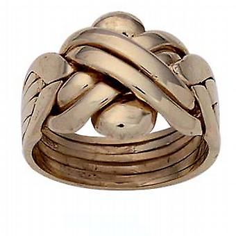 9ct Gold 6 piece Puzzle Ring Size R