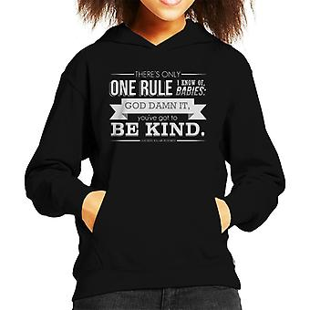 Got To Be Kind God Bless You Mr Rosewater Quote Kid's Hooded Sweatshirt