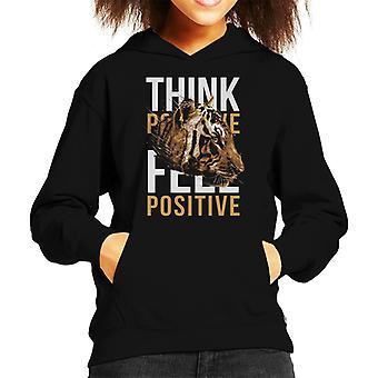Tiger Think Feel Positive Kid's Hooded Sweatshirt