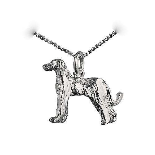 Silver 17x23mm Afghan hound Pendant with a curb Chain 18 inches