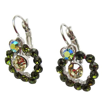 Peridot Erinite Crystals Earrings Sparkling Green Crystals Earrings