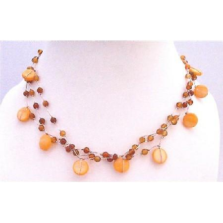 Carnelian Shell Necklace Three Stranded Carnalian Beads Shell Necklace