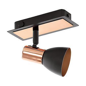 Eglo - Barnham pared LED Spot Light Matt Black y cobre EG94584