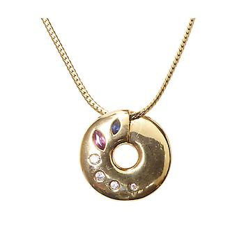 Gold necklace with pendant Ruby Sapphire diamond
