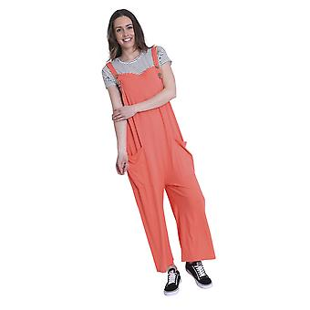 Ladies Loose Fit Cotton Jersey Dungarees - Coral Lightweight One Size Wide Leg O