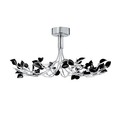 Searchlight 81510-10BK Wisteria 10 Arm Chrome Semi Flush Light With Black Leaf Glass