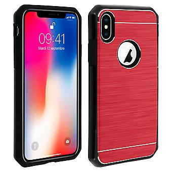 iPhone X / XS Protective Soft Silicone Case Aluminum Reinforced edges, Red