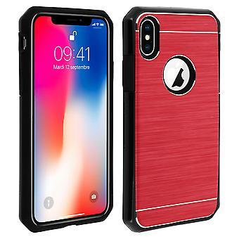 iPhone X/XS skyddande mjukt silikon fodral aluminium förstärkta kanter, röd