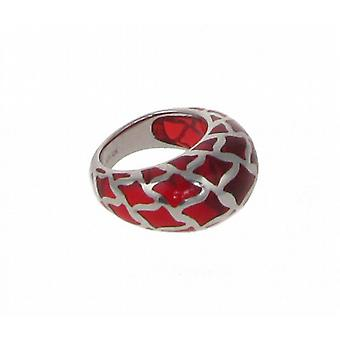 Cavendish French Sterling Silver and Red Resin Lattice Ring