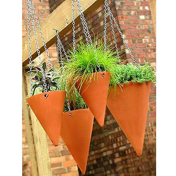 Small Terracotta Hanging Cone Planters x 2