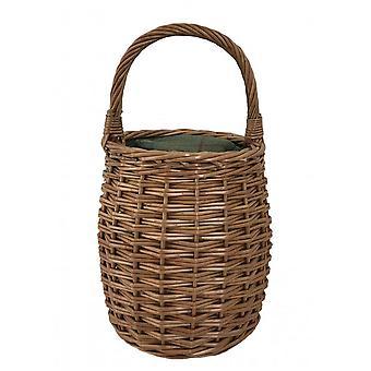 Green Tweed Honey Pot Shape Picnic Cooler Wicker Basket