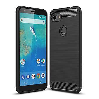 Google pixel 3A XL TPU cas fibre de carbone optique brossé étui de protection noir