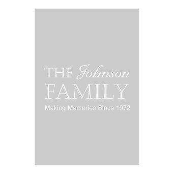 Personalised Family Name Date Grey Tea Towel