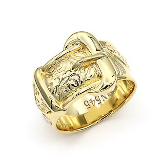 Jewelco London Mens Solid Brass Heavy Weight Single Buckle Ring 16mm Taille Z-1
