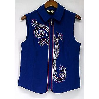 Bob Mackie Festive Embroidered Zip Front Royal Blue Vest A218553