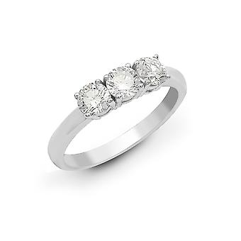 Jewelco London Solid 18ct White Gold 4 Claw Round G SI1 1.5ct Diamond 3 Stone Uniform Trilogy Ring 5mm